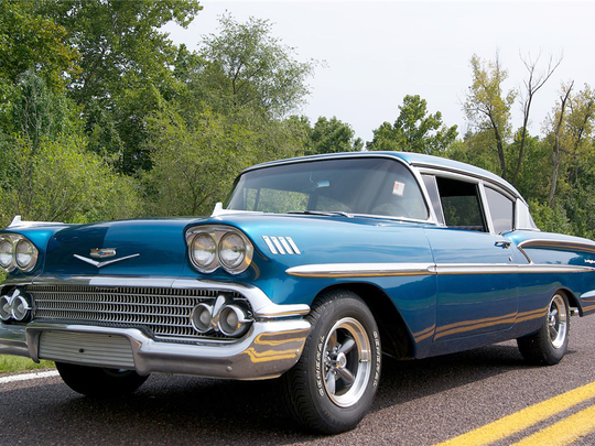 This 1958 Chevrolet Bel Air with a V-8 engine and automatic transmission is up for auction at Barrett-Jackson on Jan. 27, 2016.