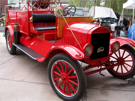 This original, restored Model T was purchased new by the New Hartford, Iowa fire department as their first gas-powered fire truck. It's up for auction at Barrett-Jackson on Jan. 27, 2016.