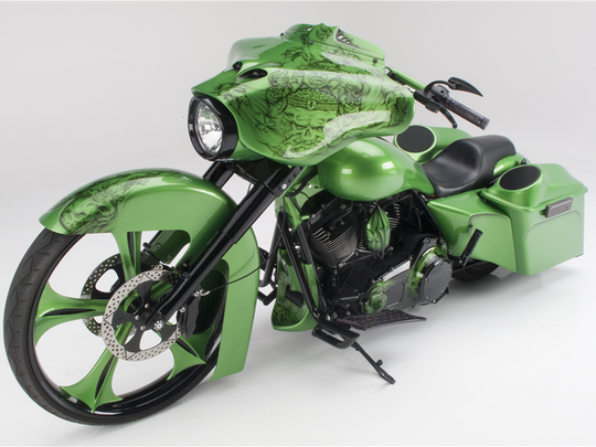 """Nicknamed the """"Atomic Leprechaun,"""" this customized Harley-Davidson motorcycle is up for auction at Barrett-Jackson in Scottsdale on Jan. 28, 2016."""