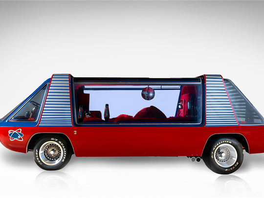 "Designed by George Barris as the ""Love Machine,"" this van has made numerous Hollywood appearances, including the 1977 film ""SuperVan."" It's up for auction at Barrett-Jackson on Jan. 30, 2016."