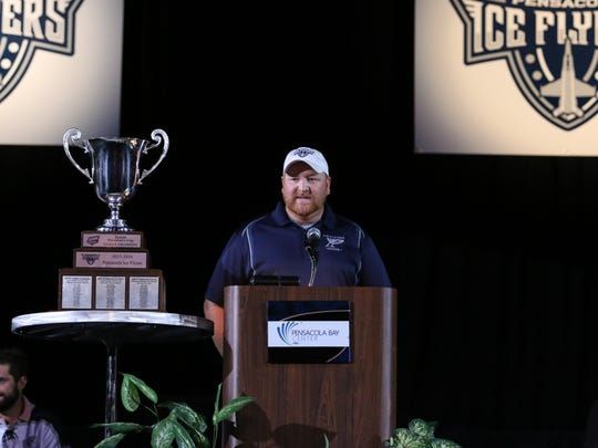Ice Flyers owner Greg Harris, shown at championship celebration in May, said he has narrowed the coaching search to two candidates and will announce his choice within two weeks.