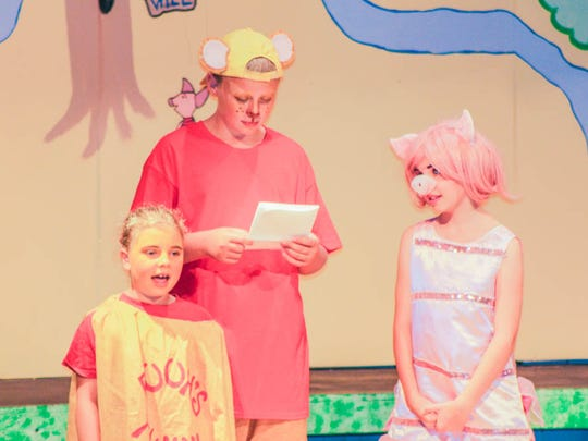 Winnie the Pooh (Collin Lukes), Pooh's Tummy (Chloe Johanek) and Piglet (Mazie Frahm) rehearse Treehouse Theater's rendition of Winnie the Pooh Kids, coming to Two Rivers Aug. 12-14.