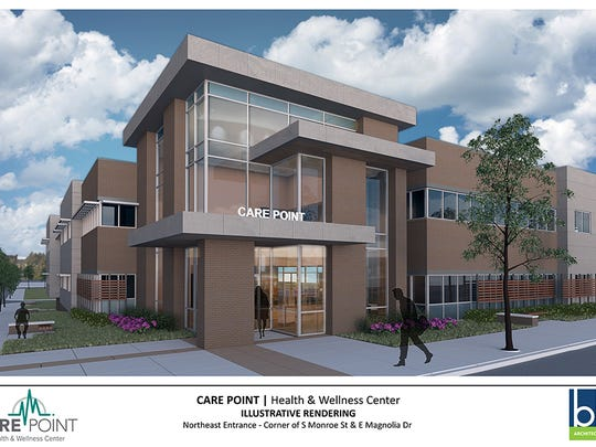 Architectural renderings of Care Point Health & Wellness Center.