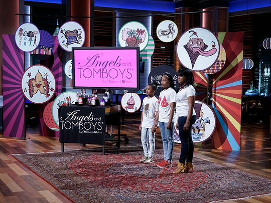 """Mallory and Madison Boyd, along with their mom, Viara Boyd, are pitching their Angels and Tomboys line of  body sprays and lotions designed just for tween and teen girls on """"Shark Tank."""""""