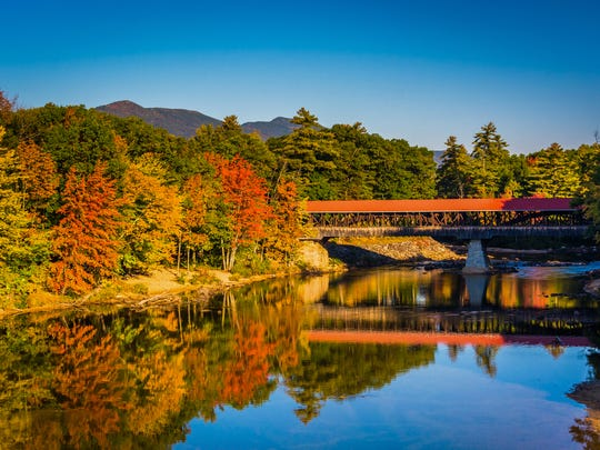 A covered bridge in Conway, New Hampshire.