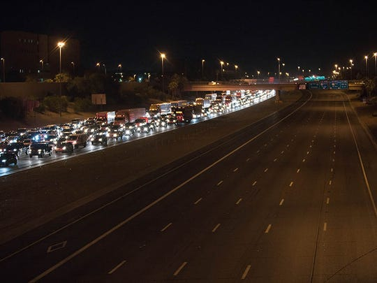 Traffic on Interstate 10 was clogged Friday evening due to a police incident at the 7th Street overpass on the I-10.