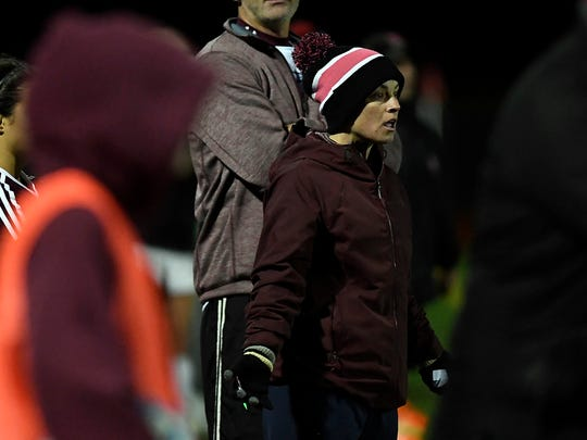 Park Ridge head coach Molly Jaffe reacts after a referee