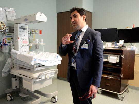 Dr. Abdulla Al-Khan, director of the division of maternal fetal medicine and surgery at Hackensack University Medical Center, in a labor, delivery and recovery room.