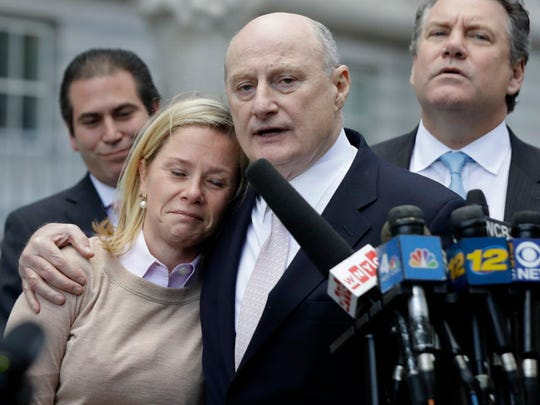 Bridget Anne Kelly crying while her lawyer, Michael Critchley, speaks after her conviction in November in the federal Bridgegate trial.