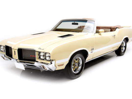 "This 1972 Oldsmobile 442 ""Bada Bing,"" previously owned by actor James Gandolfini, is scheduled for auction at Barrett-Jackson Scottsdale on Thursday, Jan. 19, 2017."