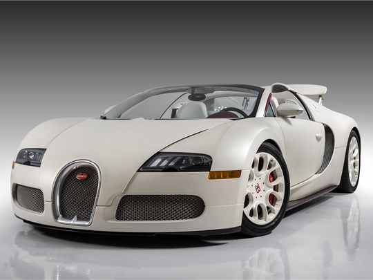 This 2011 Bugatti Veyron Grand Sport once owned by Floyd Mayweather Jr. is scheduled for auction at Barrett-Jackson Scottsdale on Saturday, Jan. 21, 2017.