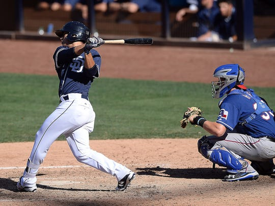 San Diego Padres' prospect Luis Urias (9) during a game against the Texas Rangers prospects on Thursday October 6, 2016 at Petco Park in San Diego, California.