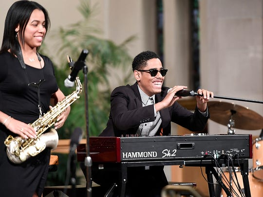 Pianist Matthew Whitaker, right, and saxophonist Gabby Garo, left, perform Jazz Vespers at Bethlehem Evangelical Lutheran Church in Ridgewood, NJ on Sunday, May 7, 2017.