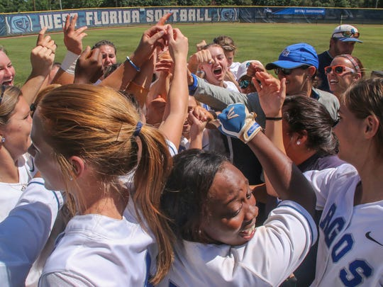 West Florida's softball team celebrates their victory