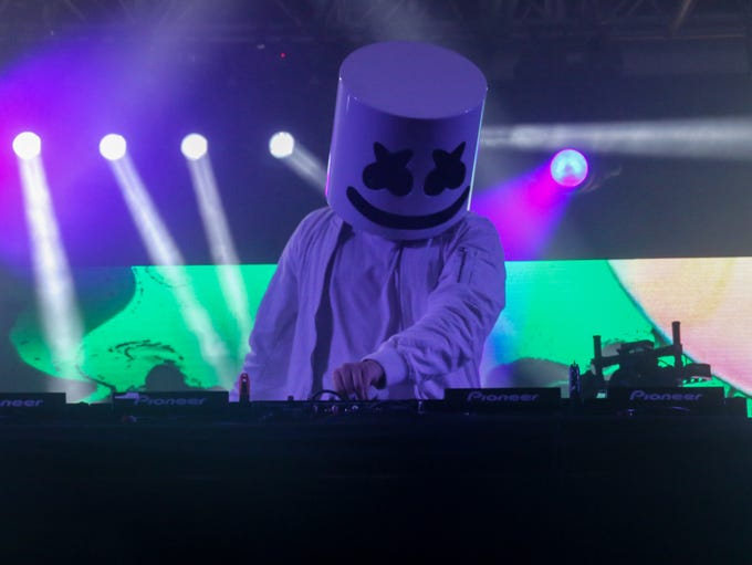 Marshmello performs in the Boom Boom Tent during the