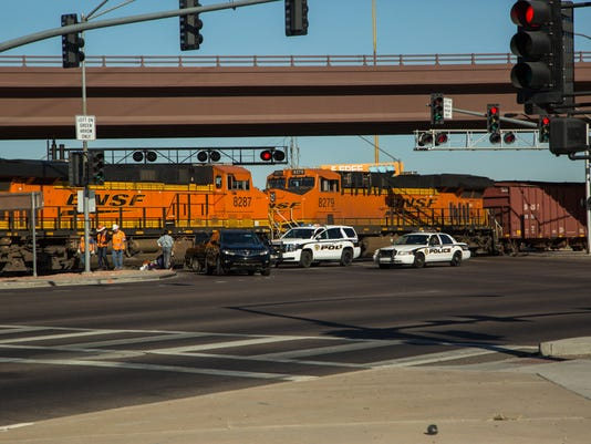 Glendale Police Department and officials from BNSF are working the scene of a collision with a train