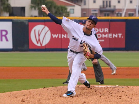 The Blue Wahoos'  Luis Castillo, part of a pitching