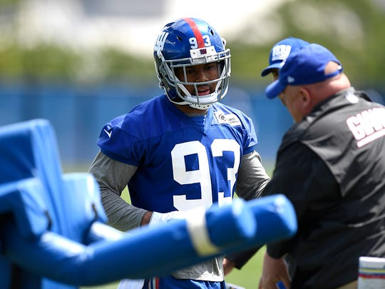 New York Giants linebacker B.J. Goodson (93) working with a coach during the sixth day of NY Giants OTA's at the training center in East Rutherford, NJ on Friday, June 2, 2017.