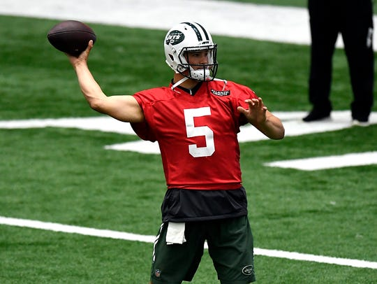 Jets quarterback Christian Hackenberg during the organized