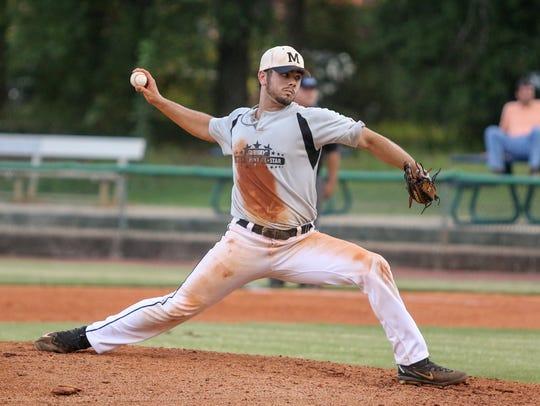 Milton's Brennan Vasquez (22) pitches against  in the