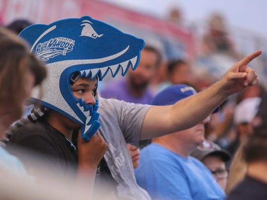 A fan watches the Blue Wahoos take on the Mississippi