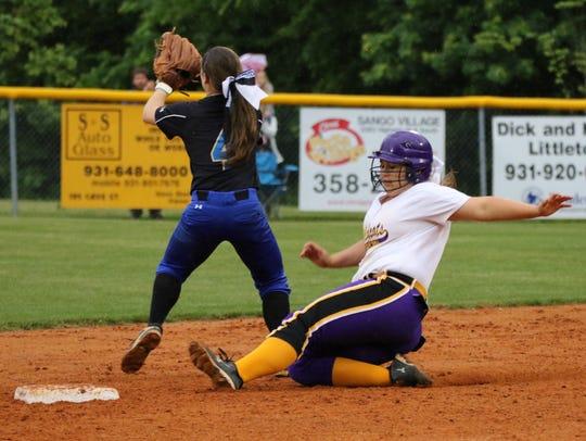 Clarksville High's Peyton Wilson slides into third