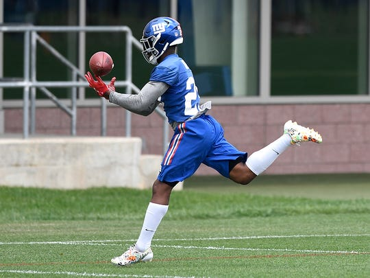 New York Giants safety Nat Berhe catches a ball during a drill at minicamp in East Rutherford, N.J., on Wednesday, June 14, 2017