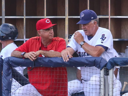 Blue Wahoos pitching coach Danny Darwin, right, talks with Cinncinati Reds pitching coordinator Tony Fossas during the game against the Chattanooga Lookouts at Admiral Fetterman Field on Monday, July 10, 2017.