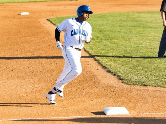 Jabari Henry rounds the bases after one of his 29 home runs hit in 2017, which tied a team record.