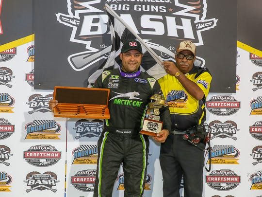 Donny Schatz is shown after a win at Knoxville earlier