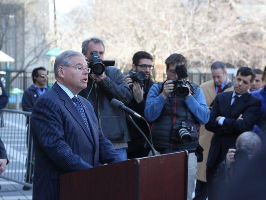 Sen. Bob Menedez speaks to the media
