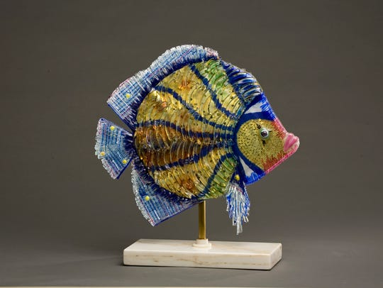 Slumped glass fish by Vera Sattler