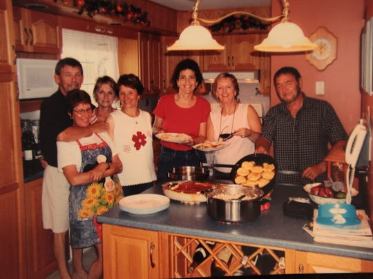 Sue Riccardelli (3rd from right) and Maureen Murray (2nd from right) are shown with their friends from Gander in late May 2006.