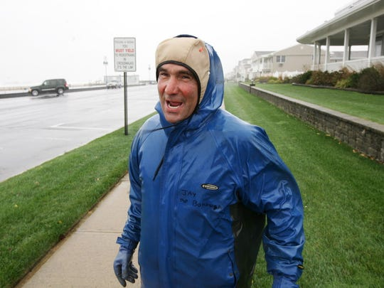 Jimmy Ferrari of Wall township said he saw a pier in north Belmar collapse during a storm 20 years ago from this spot on Ocean Ave in Belmar. Wind in Belmar exceeded 40 miles per hour on Monday morning, Oct. 29, 2012.