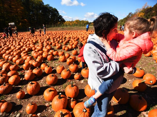 Jackie Burns of Bloomfield holds her 2 year old daughter Alexis as they stand in the middle of a pumpkin patch.