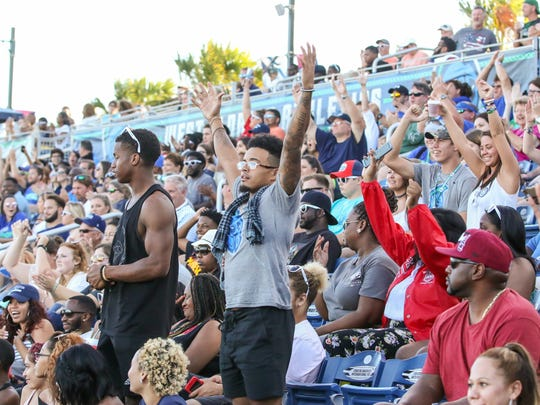 The West Florida Argos takes on Delta State University during the homecoming game at Blue Wahoos Stadium on Saturday, October 14, 2017.