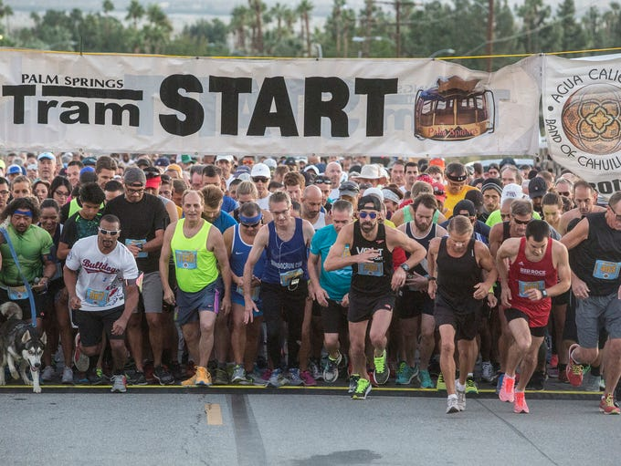 Runners start the 32nd Tram Run Challenge in Palm Springs,