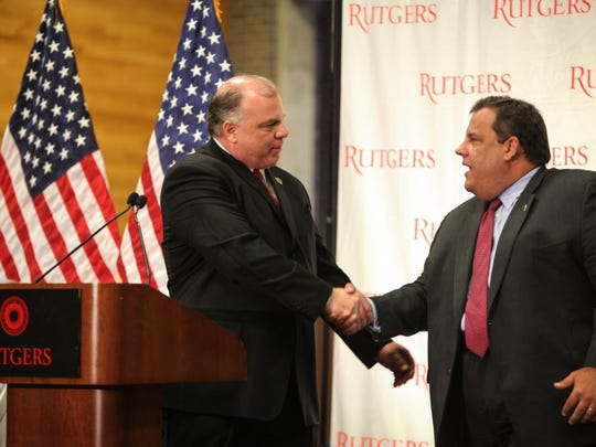 Senate president Stephen Sweeney introduces Gov. Chris Christie who came to Rutgers Aug. 22, 2012 to sign a higher education bill.