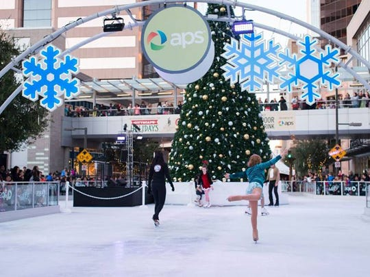 During City Skate, an ice skating rink and large decorated