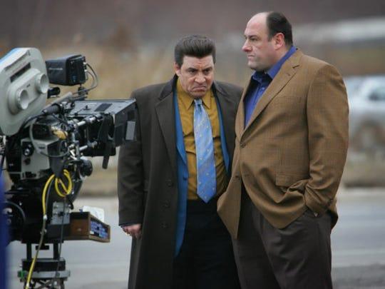 Actors James Gandolfini and Steven Van Zandt in front of Satin Dolls AKA Bada Bing during a location shoot in Lodi.