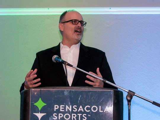 UWF head football coach Pete Shinnick speaks after being announced as the 2017 Sportsman of the Year during the 64th annual Pensacola Sports Awards Banquet at New World Landing on Tuesday, Feb. 20, 2018. The awards were given to athletes, coaches and notables for their achievements or involvement in Pensacola-area sports.