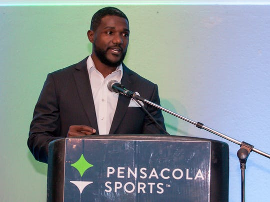 Woodhman High School graduate and world champion sprinter Justin Gatlin speaks during the 64th annual Pensacola Sports Awards Banquet at New World Landing on Tuesday, Feb. 20, 2018. The awards were given to athletes, coaches and notables for their achievements or involvement in Pensacola-area sports. He was named the 2017 Professional Athlete of the Year by Pensacola Sports and also was the guest speaker.