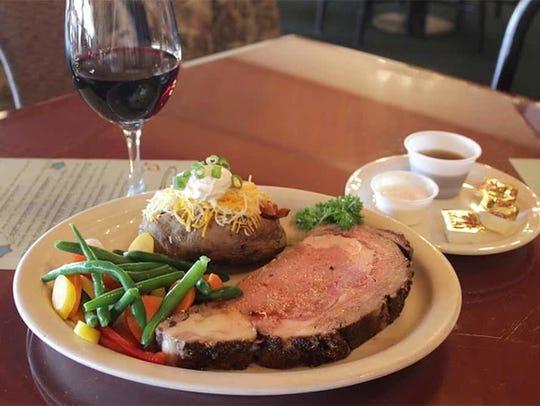 The prime rib dinner at Ironworks Restaurant.