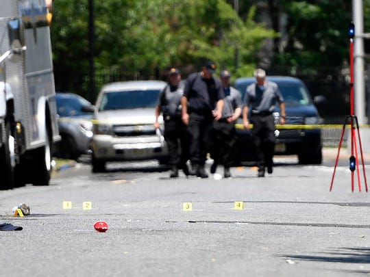 The scene of the shooting that killed 1 and injured 20 during an Art All Night Festival in Trenton on Sunday, June 17, 2018.