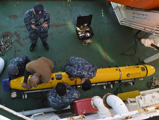 Sailors assigned to Keyport-based Unmanned Undersea Vehicle Squadron 1 (UUVRON 1), mobilized with Undersea Rescue Command to support the Argentine government's search and rescue efforts for the Argentine Navy diesel-electric submarine A.R.A San Juan in November.