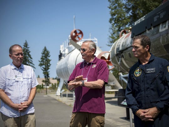 KEYPORT, Wash. (July 28, 2018) Retired U.S. Navy Lt. Cmdr. Patrick O'Brien (left), former officer in charge of Deep Submergence Rescue Vehicle Mystic (DSRV 1), retired U.S. Navy Cmdr. Richard Taylor (center), former officer in charge of Deep Submergence Rescue Vehicle Avalon (DSRV 2), and retired U.S. Navy Master Chief Sonar Technician Todd Litke, former senior enlisted leader of Deep Submergence Rescue Vehicle Mystic (DSRV 1), answer questions during a DSRV reunion at the Keyport U.S. Naval Undersea Museum. The U.S. Naval Undersea Museum strives to connect veterans, active-duty Sailors, and the national audience with the history, technology, and operations of the undersea Navy.