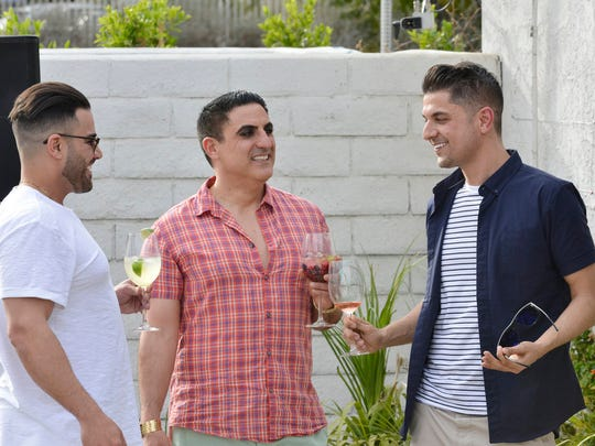 """Shahs of Sunset"" shoots at a home in Palm Springs. Pictured (l-r) Mike Shouhed, Reza Farahan, Nema Vand."