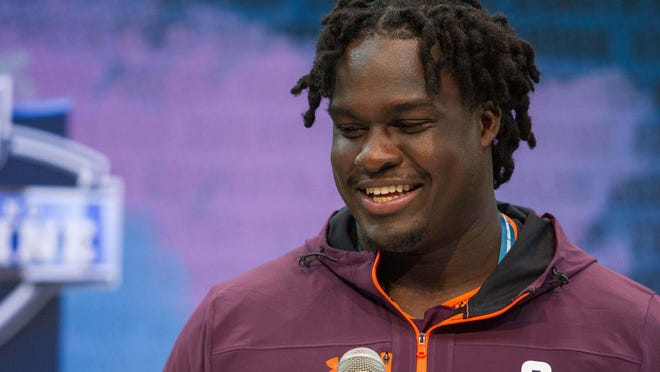 Feb 28, 2019; Indianapolis, IN, USA; West Virginia offensive lineman Yodny Cajuste (OL08) speaks to media during the 2019 NFL Combine at Indianapolis Convention Center. Mandatory Credit: Trevor Ruszkowski-USA TODAY Sports