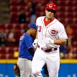 Adam Duvall impressed outfield coach Billy Hatcher and is an option for the Reds in left field next season.