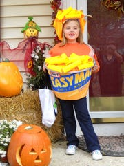 Abbie Wiedemann dressed as one of her favorites foods one Halloween. She and her mom make all her costumes, and this year she is making her own.